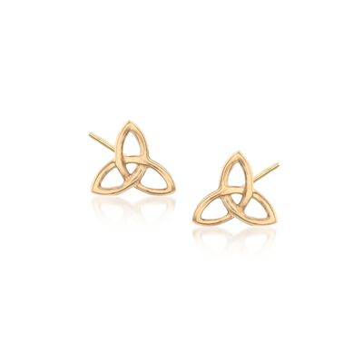 18kt Yellow Gold Celtic Trinity Knot Stud Earrings, , default