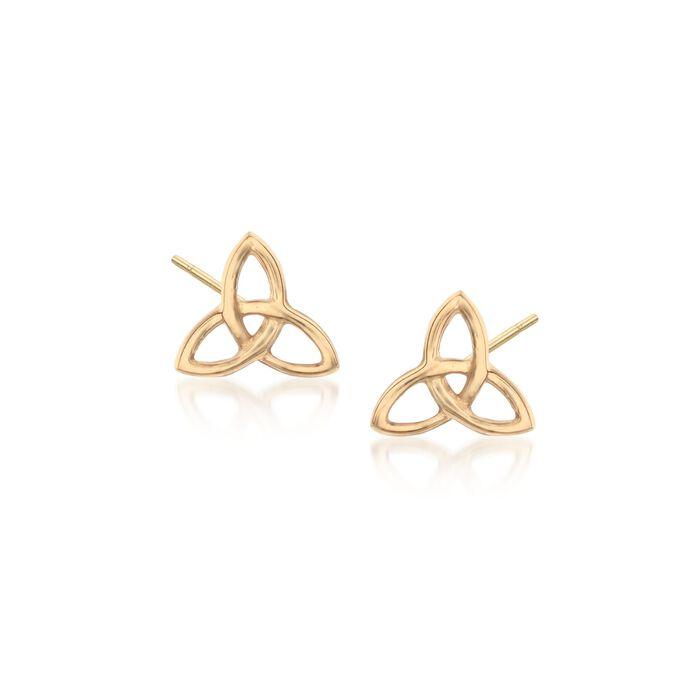 18kt Yellow Gold Celtic Trinity Knot Stud Earrings, , default