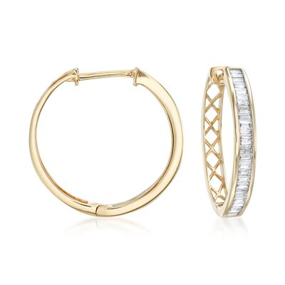 1.00 ct. t.w. Baguette Diamond Hoop Earrings in 14kt Yellow Gold, , default