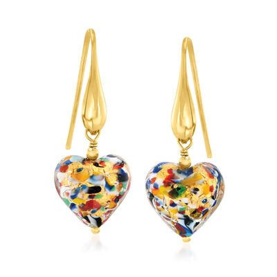 Italian Murano Glass Multicolored Heart Drop Earrings in 18kt Gold Over Sterling