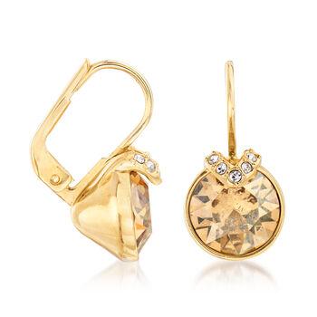 """Swarovski Crystal """"Bella"""" Golden Crystal V-Shape Earrings in Gold Plate, , default"""