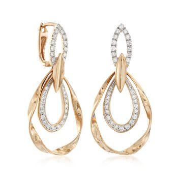 .65 ct. t.w. Diamond Twisted Open Teardrop Earrings in 14kt Yellow Gold, , default