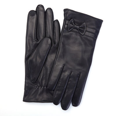 Royce Black Leather Bow Gloves, , default