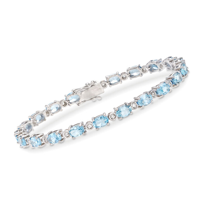 "10.00 ct. t.w. Aquamarine and .48 ct. t.w. Diamond Bracelet in 14kt White Gold. 8"", , default"