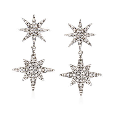 .17 ct. t.w. Diamond Starburst Drop Earrings in 14kt White Gold, , default