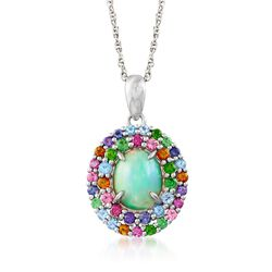 "Opal and .50 ct. t.w. Multi-Stone Pendant Necklace in Sterling Silver. 18"", , default"