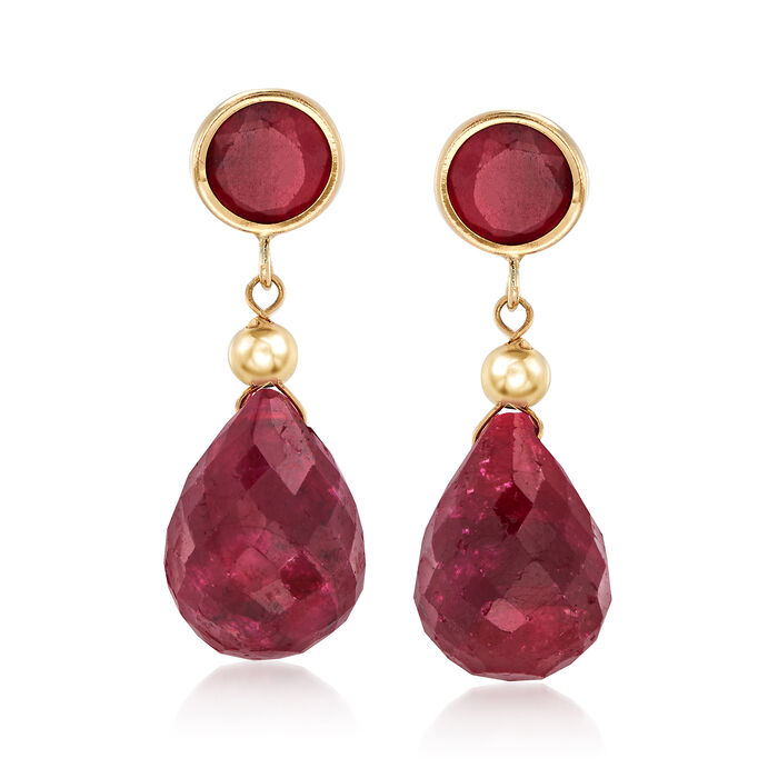 11.00 ct. t.w. Ruby Drop Earrings in 14kt Yellow Gold , , default