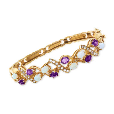 C. 1970 Vintage Opal, 1.80 ct. t.w. Amethyst and .45 ct. t.w. Diamond Bangle Bracelet in 14kt Yellow Gold