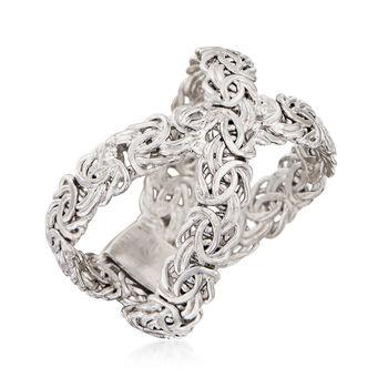 Sterling Silver Byzantine Crisscross Ring, , default