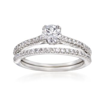 1.00 ct. t.w. Diamond Bridal Set: Engagement and Wedding Ring in 14kt White Gold, , default
