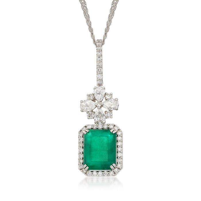 3.70 Carat Emerald and 1.39 ct. t.w. Diamond Pendant in 18kt White Gold, , default