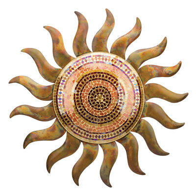 Flamed Copper Sun Decorative Wall Decor, , default