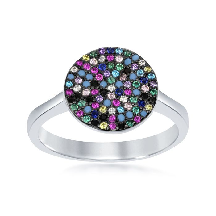Pave Multicolored CZ Circle Ring in Sterling Silver, , default