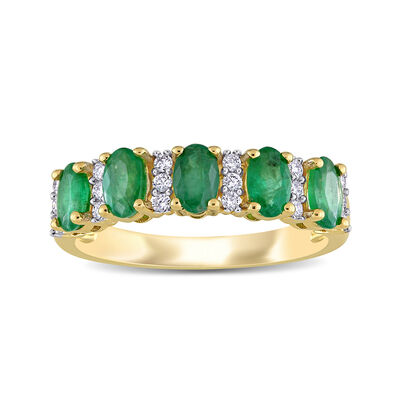 1.10 ct. t.w. Emerald and .16 ct. t.w. Diamond Ring in 14kt Yellow Gold
