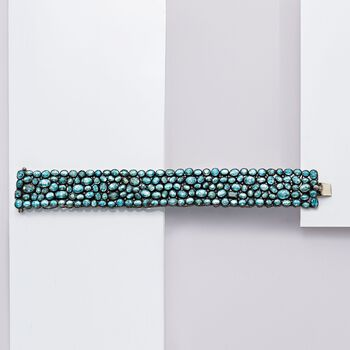 "110.00 ct. t.w. Blue Zircon and 1.35 ct. t.w. Brown Diamond Bracelet in Sterling Silver. 8"", , default"