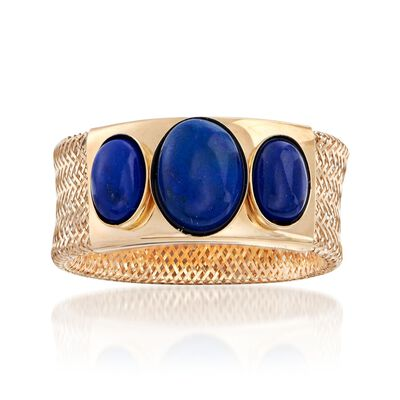 Italian Lapis Three-Stone Mesh Ring in 14kt Yellow Gold, , default