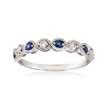 .30 ct. t.w. Sapphire and .14 ct. t.w. Diamond Milgrain Twist Ring in 14kt White Gold, , default