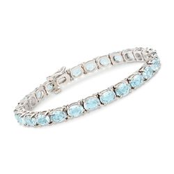 "C. 1990 Vintage 17.50 ct. t.w. Aquamarine Bracelet in 14kt White Gold. 7"", , default"