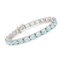 "C. 1990 Vintage 17.50 ct. t.w. Aquamarine Bracelet in 14kt White Gold. 7"", , default"