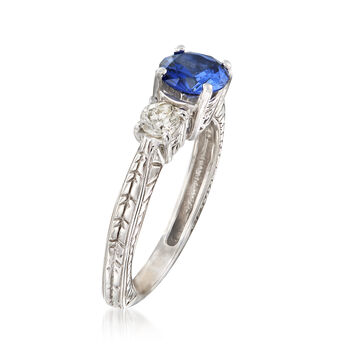 C. 1990 Vintage 1.00 Carat Sapphire and .35 ct. t.w. Diamond Ring in 14kt White Gold. Size 6, , default