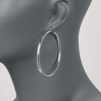 """3mm Sterling Silver Hoop Earrings. 2 3/8"""", , default"""