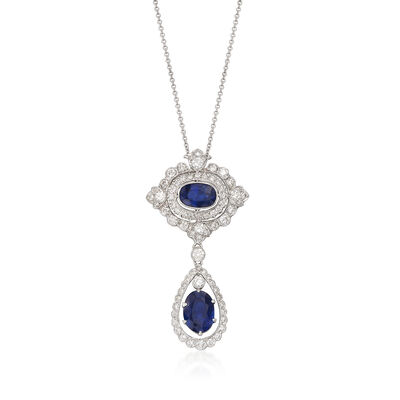 C. 2000 Vintage 4.74 ct. t.w. Sapphire and 1.50 ct. t.w. Diamond Drop Necklace in 18kt White Gold, , default