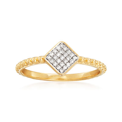 .10 ct. t.w. Diamond Square Ring in 14kt Yellow Gold