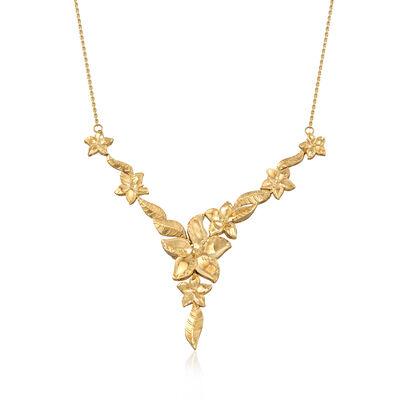 14kt Yellow Gold Floral Vine Y-Necklace, , default