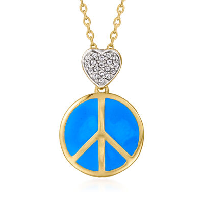 .10 ct. t.w. White Topaz Heart and Enamel Peace Sign Pendant Necklace in 18kt Gold Over Sterling