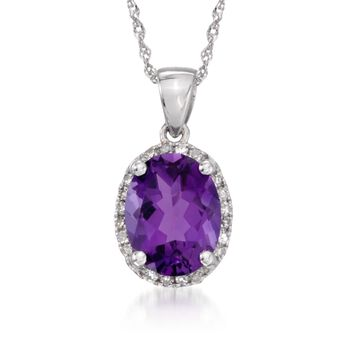 """1.75 Carat Amethyst Pendant Necklace With Diamonds in 14kt White Gold. 18"""", , default"""