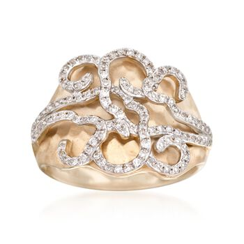 .34 ct. t.w. Diamond Hammered Swirl Ring in 14kt Yellow Gold, , default