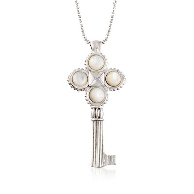 Italian Sterling Silver Key Pendant Necklace with Mother-Of-Pearl, , default