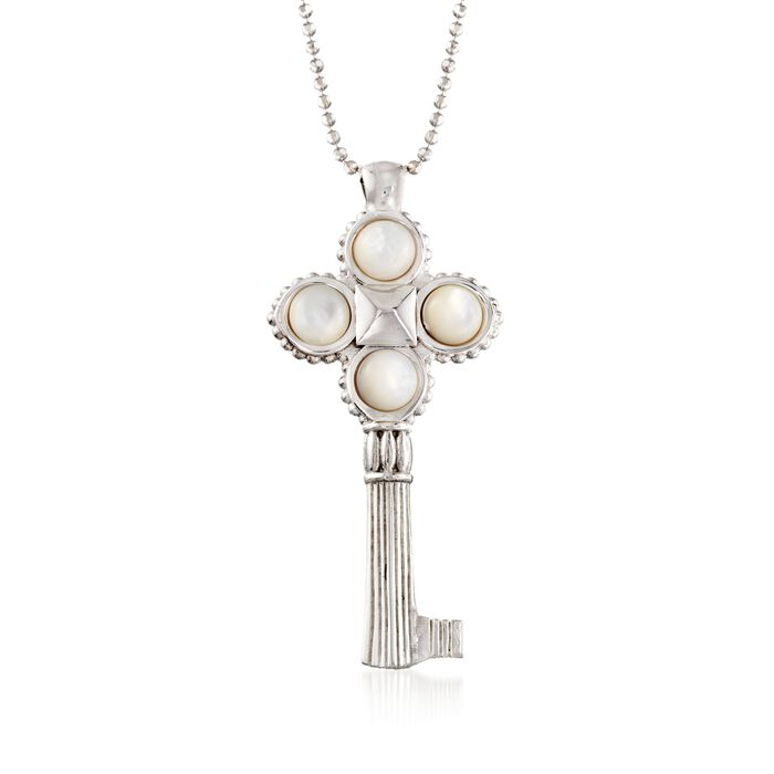 Italian Sterling Silver Key Pendant Necklace with Mother-Of-Pearl. 18""