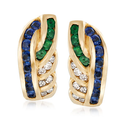 C. 1980 Vintage 1.25 ct. t.w. Sapphire and .50 ct. t.w. Emerald Earrings with Diamonds in 14kt Yellow Gold , , default