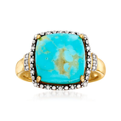 Turquoise and .11 ct. t.w. Diamond Halo Ring in 18kt Gold Over Sterling