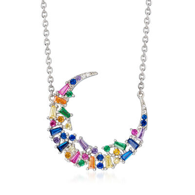 1.00 ct. t.w. Multicolored CZ Crescent Moon Pendant Necklace in Sterling Silver