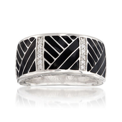 "Belle Etoile ""Laguna"" Black Enamel and .15 ct. t.w. CZ Ring in Sterling Silver, , default"