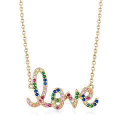 ".45 ct. t.w. Multicolored CZ ""Love"" Necklace in 18kt Gold Over Sterling, , default"