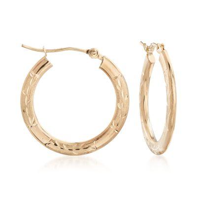 14kt Yellow Gold Medium Branch Patterned Hoop Earrings