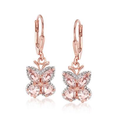 1.70 ct. t.w. Morganite Butterfly Drop Earrings in 18kt Rose Gold Over Sterling, , default