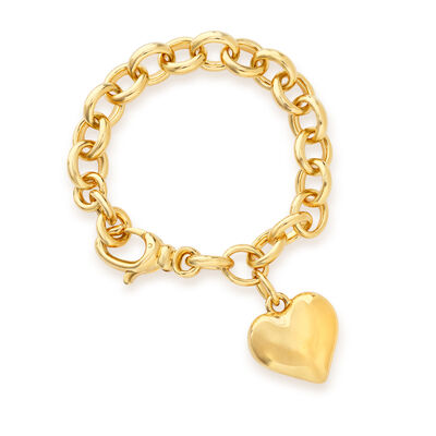Italian Andiamo Heart Charm Bracelet in 14k Gold Over Resin, , default