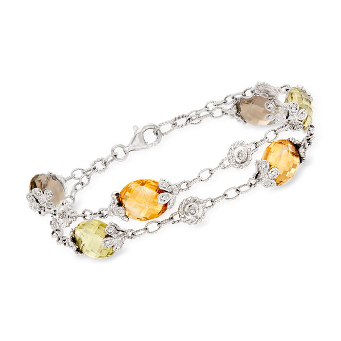 "C. 1990 Vintage 48.00 ct. t.w. Multicolored Quartz and .35 ct. t.w. Diamond Double-Row Bracelet in 14kt White Gold. 8"", , default"