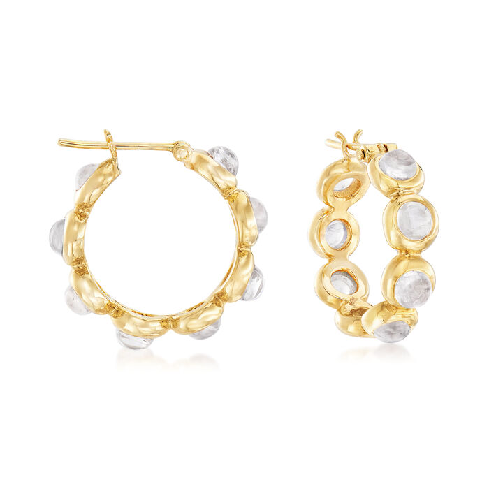 "Mazza 4mm Moonstone Hoop Earrings in 14kt Yellow Gold. 3/4"", , default"
