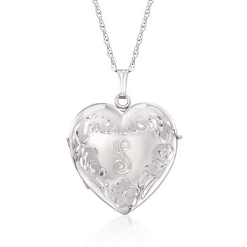 Sterling Silver Four-Photo Heart Locket Necklace, , default