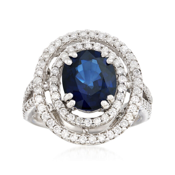 3.60 ct. t.w. Sapphire and .91 ct. t.w. Diamond Double Halo Ring in 14kt White Gold. Size 6.5