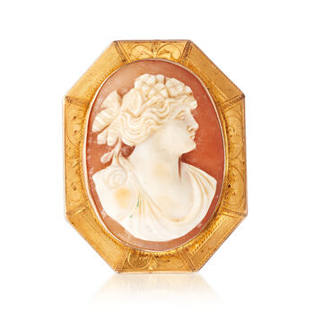 C. 1950 Vintage Oval Shell Cameo Pin Pendant in 10kt Yellow Gold