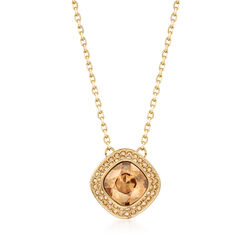 """Swarovski Crystal """"Latitude"""" Clear Crystal Halo Necklace in Gold-Plated Metal, , default"""