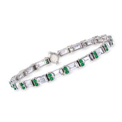 9.50 ct. t.w. CZ and 1.10 ct. t.w. Simulated Emerald Bracelet in Sterling Silver with Magnetic Clasp