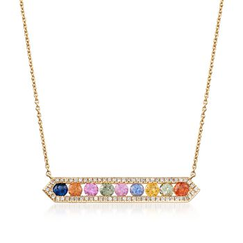 """.90 ct. t.w. Multicolored Sapphire and .22 ct. t.w. Diamond Horizontal Bar Necklace in 14kt Yellow Gold. 18"""", , default"""