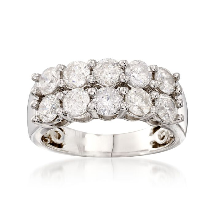 2.00 ct. t.w. Diamond Two-Row Ring in 14kt White Gold, , default